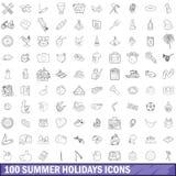 100 Sommerferienikonen eingestellt, Entwurfsart Lizenzfreie Stockfotos