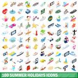 100 Sommerferienikonen stellten, isometrische Art 3d ein Lizenzfreies Stockbild