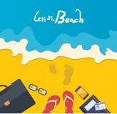 Sommerferienillustration, flacher DesignGeschäftsmann am Strand, Konzept Lizenzfreies Stockfoto