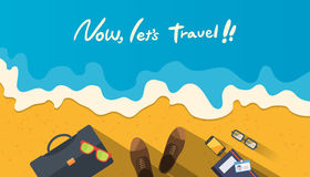Sommerferienillustration, flacher Designstrand und Geschäft wenden Konzept ein Stockfotos