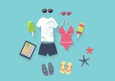 Sommerferiensatz Ikonen Stockbild