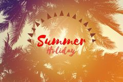 Sommerferienwörter auf Schattenbild des Kokosnussbaums Lizenzfreie Stockbilder