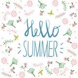Sommerfesteinladung, Grußkartenschablone oder Plakat Naturblumenbühnenbildvektor-Illustrationsanlage Stockbilder