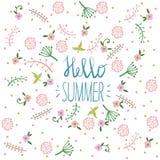 Sommerfesteinladung, Grußkartenschablone oder Plakat Naturblumenbühnenbildvektor-Illustrationsanlage Lizenzfreie Stockbilder