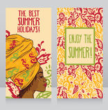 Sommerfestposter mit schöner Afroamerikanerfrau lizenzfreie abbildung