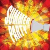 Sommerfesttext mit Palmen und buntem Hintergrund Lizenzfreie Stockfotos