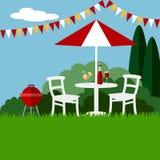 Sommergartenfest-Grillhintergrund, flaches Design, Stockbild