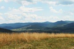 Sommergebirgsgrünes Gras und blauer Himmel gestalten landschaftlich Lizenzfreie Stockfotografie