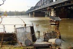 Sommergendosi dal fiume Po Fotografia Stock Libera da Diritti