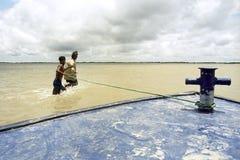 Sommergendosi nel delta Bangladesh, mutamenti climatici Fotografie Stock