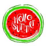 Sommergestaltungselement mit Wassermelone Frische Frucht des Gekritzels im gru Stockfoto