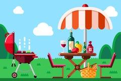 Sommergrillpicknick, vector flache Illustration Bbq-Grill, -regenschirm, -tabelle mit Lebensmittel und -wein auf Wiese lizenzfreie abbildung