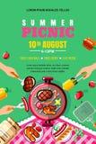 Sommergrillpicknick, Vektorplakat, Fahnenplan Draufsicht BBQ-Grill mit Steak, Fisch Menschliche Hände mit Lebensmittel lizenzfreie abbildung