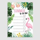 Sommergrußkarte, Einladung Wunschliste oder Liste Flamingovogel und Palmblätter Netzfahne, Hintergrund tun ablage vektor abbildung