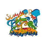 Sommerhandbeschriftung und Gekritzelartelemente Stockbild