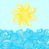 Sommerhintergrund, Meer, Sonne, bewegt wellenartig Stockbild