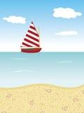 Sommerhintergrund mit Bootsmeer und -strand Stockfotografie