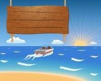 Sommerhintergrund mit Motorboot und Holzschild. Lizenzfreie Stockfotografie