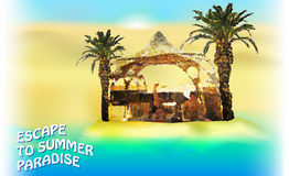 Sommerhintergrund mit Palmen und Bambuspavillon Lizenzfreie Stockbilder