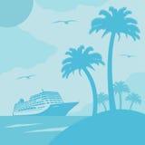 Sommerhintergrund mit Schiff Lizenzfreie Stockfotos