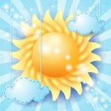 Sommerhintergrund mit Sonne Stockbilder