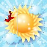 Sommerhintergrund mit Sonne und Flugzeug Lizenzfreie Stockfotos
