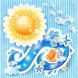 Sommerhintergrund mit Sonne und Welle Lizenzfreies Stockfoto