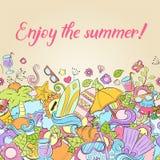Sommerhintergrund, Tapete, Beschaffenheit, Postkarte, Karte Schablone für die Werbung, Fahne, Flieger, Webdesign, grüßend Lizenzfreie Stockbilder
