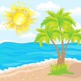 Sommerhintergrund, tropischer Strand mit Palmen Lizenzfreies Stockfoto