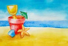 Sommerhintergrundkonzept mit Kopienraum Sandlandschaft und das Meer oder der Ozean auf dem Horizont, blauer Himmel Im Vordergrund stock abbildung