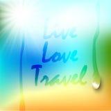 Sommerhintergrundsteigungsmaschenstrand und -ozean Hintergrund für Reisekarten Auch im corel abgehobenen Betrag Stockfotografie