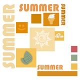 Sommerikonen mit Text Stockfotos