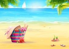 Sommerillustration mit einer Strandtasche im Sand gegen das Meer und das weiße Segelboot Stockbild