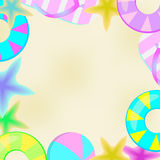 Sommerillustration mit Sandalen, Starfish und Ballstrand Stockbilder
