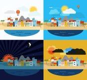 Sommerküsten-Ferienillustration Lizenzfreie Stockbilder