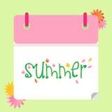 Sommerkalender-Grünrosa mit Blumen Lizenzfreie Stockfotos
