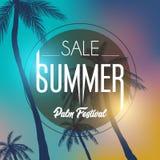Sommerkalifornien-tumblr Hintergründe stellten mit Palmen, Himmel und Sonnenuntergang ein Sommerplakatplakatflieger-Einladungskar Stockbilder