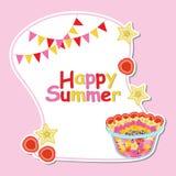 Sommerkarte mit Obstsalat, Sternfrucht und Himbeere Lizenzfreie Stockfotografie