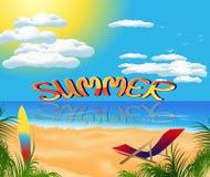 Sommerkarte mit Seeansicht Stockfotos