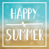 Sommerkarte mit Seehintergrund und -beschriftung entwarf Text Auch im corel abgehobenen Betrag Stockfoto