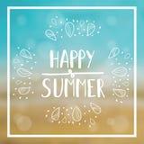 Sommerkarte mit Seehintergrund und -beschriftung entwarf Text Auch im corel abgehobenen Betrag Stockbilder