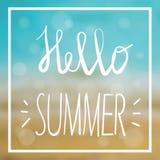 Sommerkarte mit Seehintergrund und -beschriftung entwarf Text Auch im corel abgehobenen Betrag Lizenzfreie Stockbilder