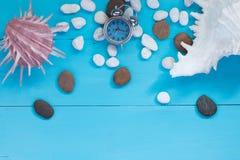 Sommerkonzept: Muscheln und Kiesel mit Wecker auf hölzernem Hintergrund Stockbild