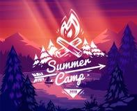 Sommerlager-Typografiedesign auf Vektorhintergrund