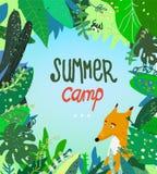 Sommerlagerillustration mit Naturhintergrund und -fuchs Stockbild
