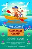 Sommerlagerplakat oder -flieger des Kindes Stockbilder