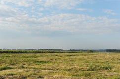 Sommerlandschaft auf dem Gebiet Das Auto geht weit auf dem Gebiet Blauer Himmel in den Wolken Lizenzfreies Stockbild