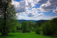 Sommerlandschaft mit blauem Himmel mit weißen Wolken Grüne Wiese mit Baum, Galle Karpaty, Tschechische Republik Lizenzfreie Stockfotos
