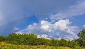Sommerlandschaft mit doppeltem Regenbogen, grünem Gras und Wolken Lizenzfreies Stockbild