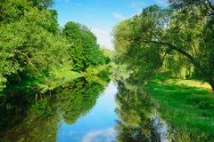 Sommerlandschaft mit Fluss Mukhavets Stockfotos